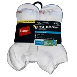Hanes 7 Pair Men's White No Show Socks Cushioning
